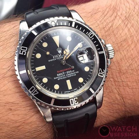 Rolex Submariner on a Hirsch Hevea an all natural rubber strap  - courtesy of Oakleigh watches