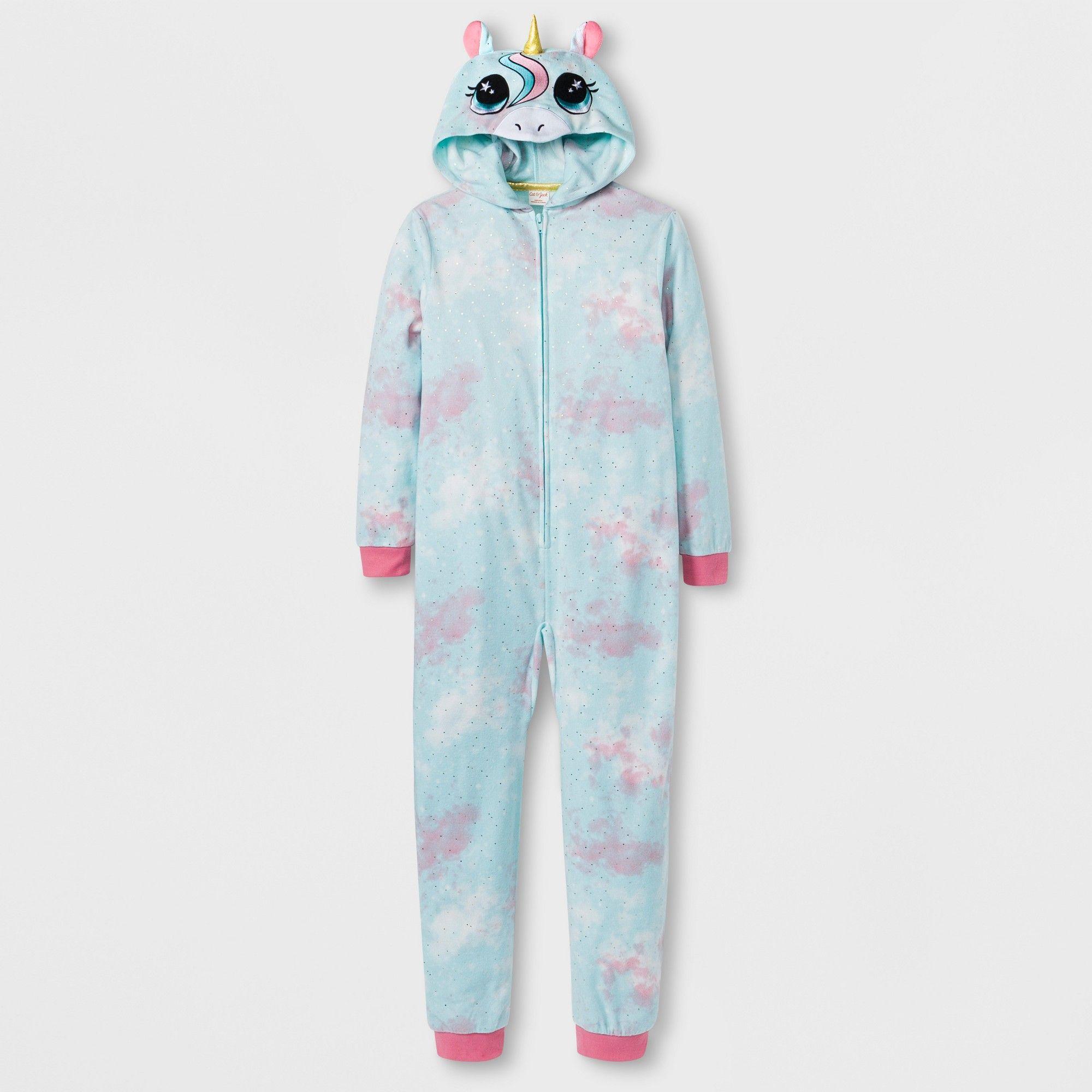4e8f10af0 Girls  Unicorn Graphic Hooded Blanket Sleeper - Cat   Jack Blue XS ...