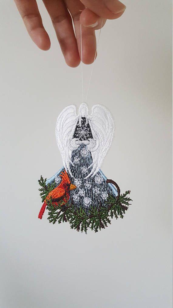Christmas decor, Set of 5 Cardinal Angel Decors, Christmas tree - christmas decors