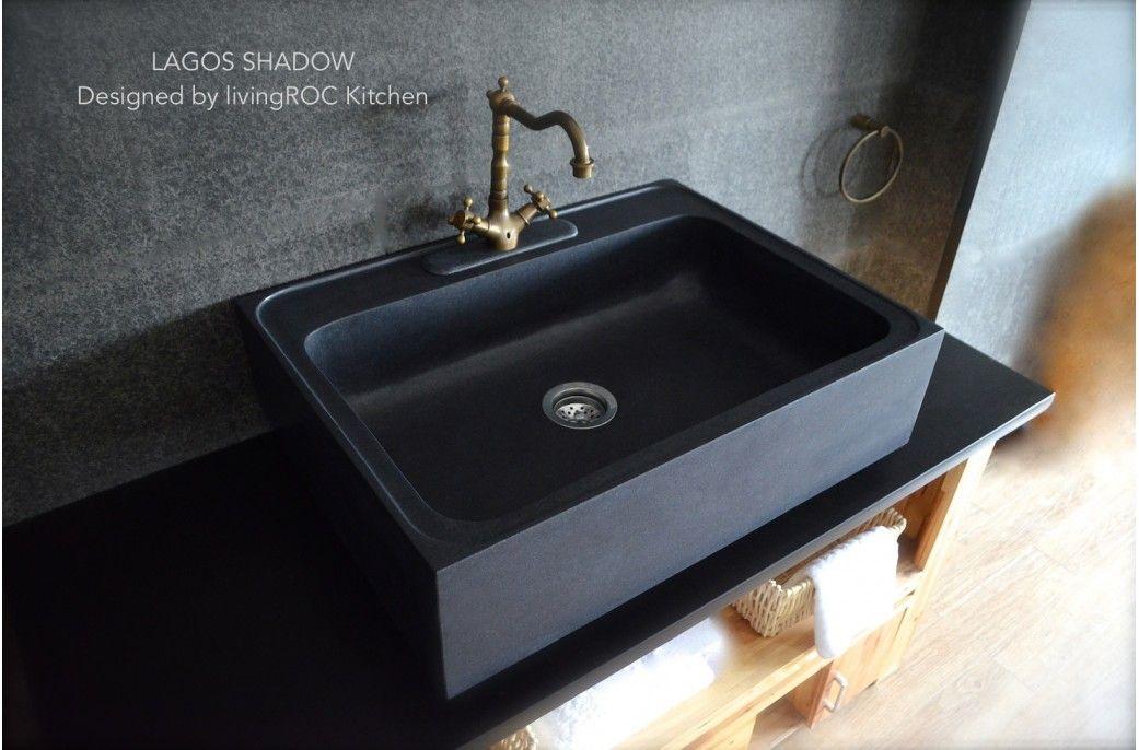 "Fresh 30"" x 22"" x 8"" Pure Black Granite Stone Kitchen Sink LAGOS SHADOW Picture - Fresh black granite For Your House"