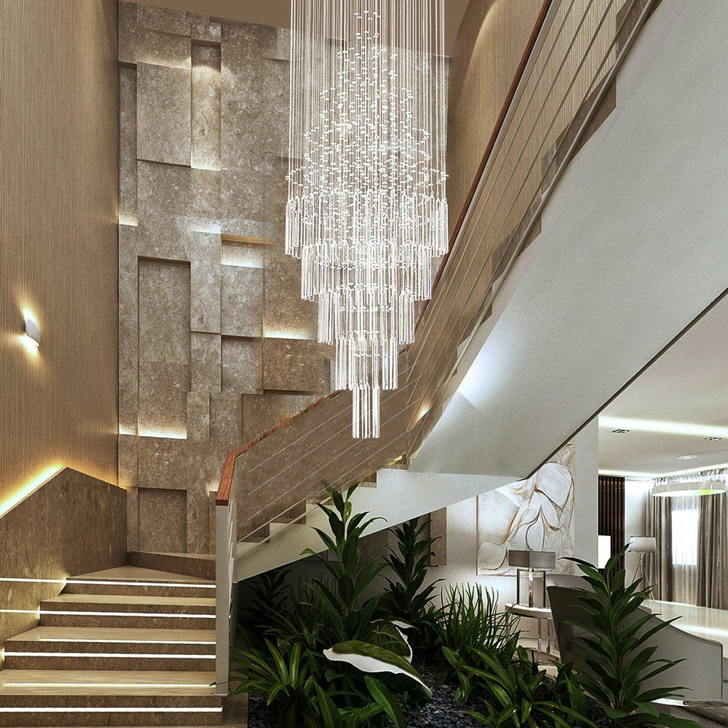 28 Best Stairway Decorating Ideas And Designs For 2020: Floating Castle Round Raindrop Crystal Chandelier Ceiling