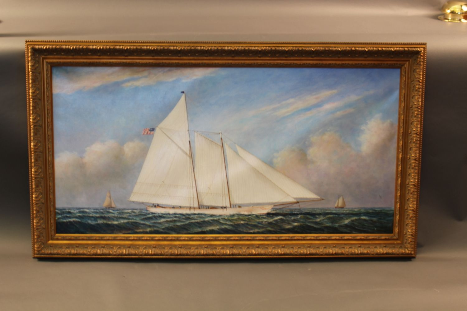 Lot 163 - Oil on canvas painting of the famous schooner yacht ...