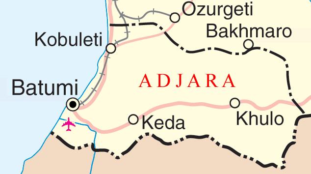 A more detailed map of Adjara