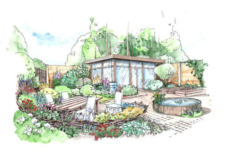 Added interest from raised elements planting beds pond and wattle fence from mox landscape architects from st sketches made by their lead architect