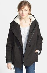 Kristen Blake Hooded Cotton Jacket with Faux Shearling Lining