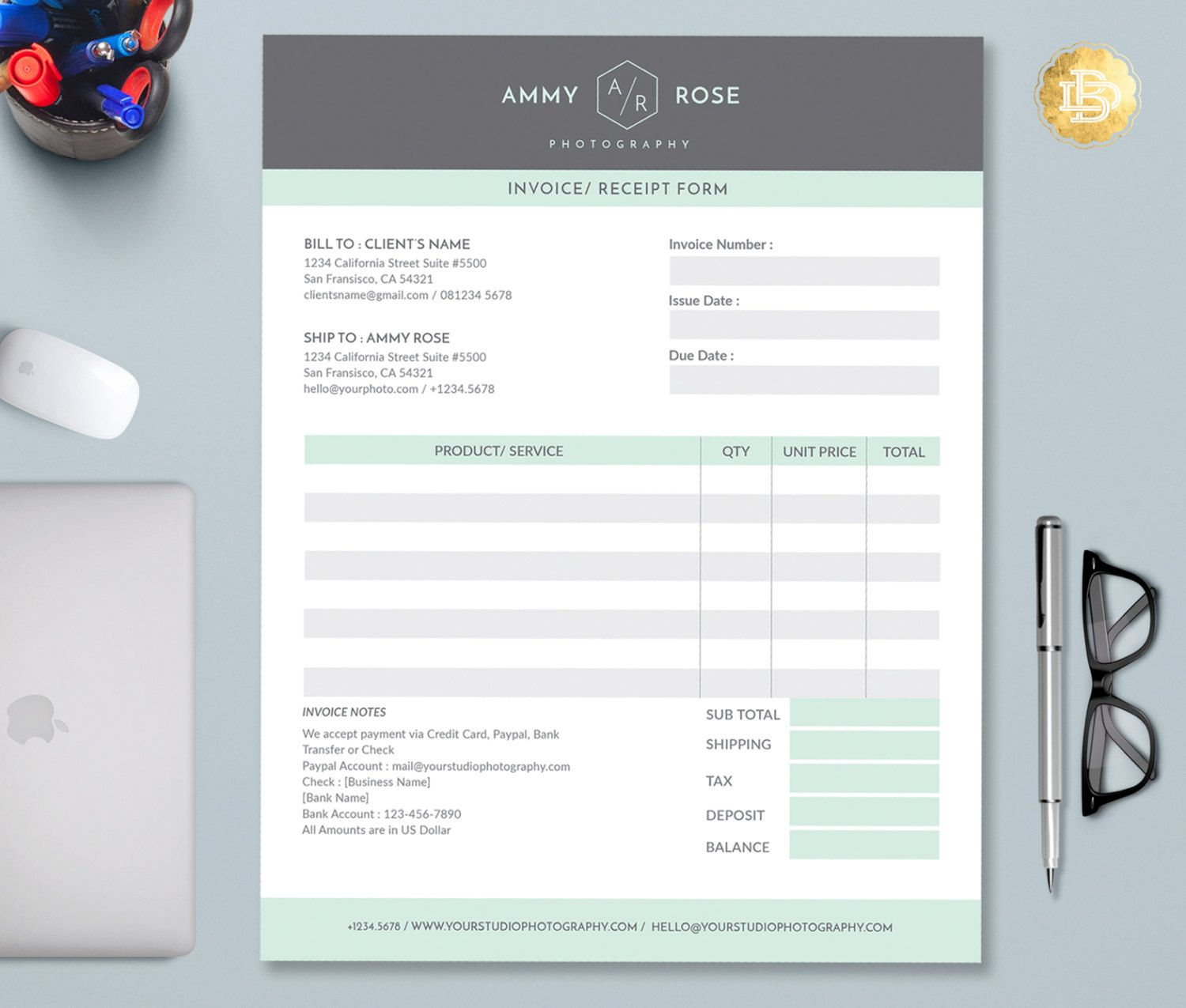 Invoice Template For Photographers Photography Invoice Etsy In 2021 Photography Invoice Template Photography Invoice Invoice Template