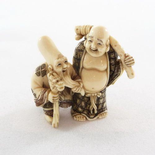 Mammoth Ivory Netsuke - Fukurokuju & Jute Bag Buddha