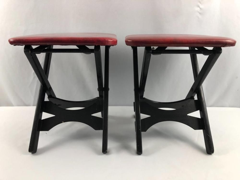 PAIR VINTAGE RETRO FOLDING STOOL SEAT RED VINYL WOOD BLACK