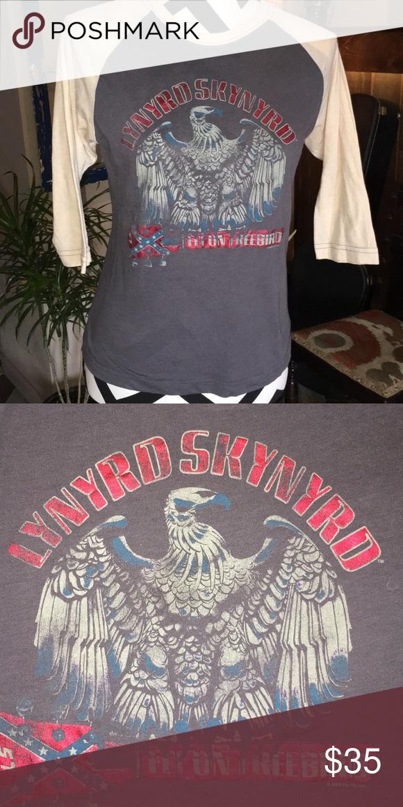 vintage lynyrd skynyrd bball tee grey cream sleeves metallic red letters cream blue eagle shirt
