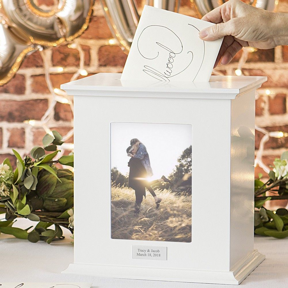 White Finish Deocrative Wood Photo Frame Box Personalized With A