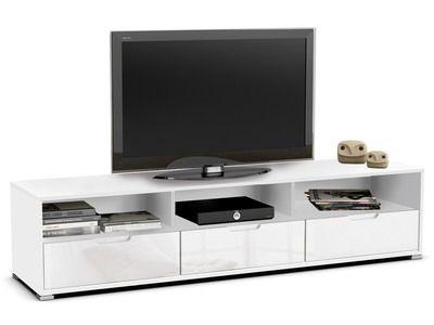 meuble tv design 3 tiroirs 3 niches en bois enrob high gloss blanc l180cm clio - Meuble Tv Blanc Glossy