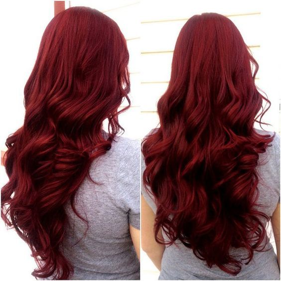 Scarlet Hair Color With Long Wavy Style Nice Dark Red Love It