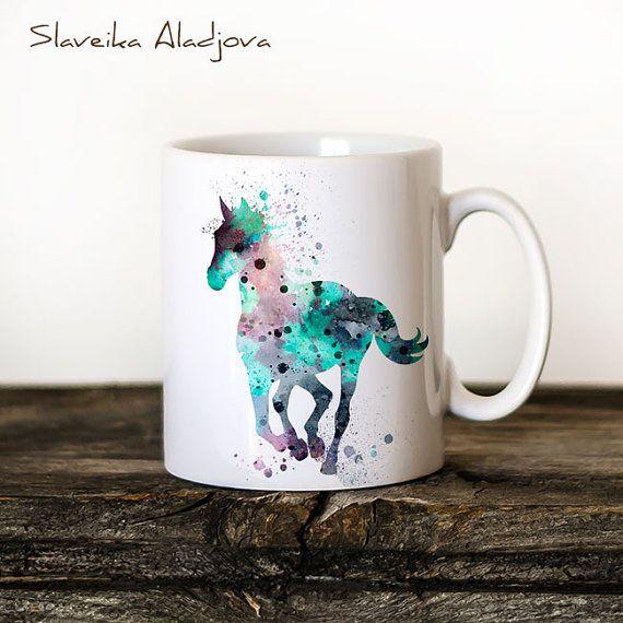 Horse Mug Watercolor Ceramic Mug Unique Gift Bird Coffee Mug