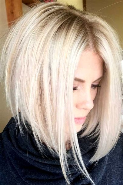 An Inverted Bob Haircut Is A Trendy Variation Of A Classic Bob Haircut That Is One Length Its Front Is Longer Hair Styles Medium Hair Styles Thick Hair Styles