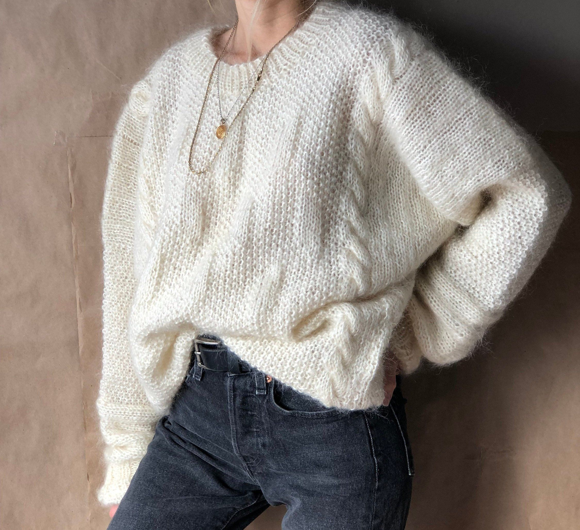 Plaited sweater Wool sweater Cable knit sweater White plaited oversized sweater Handmade sweater