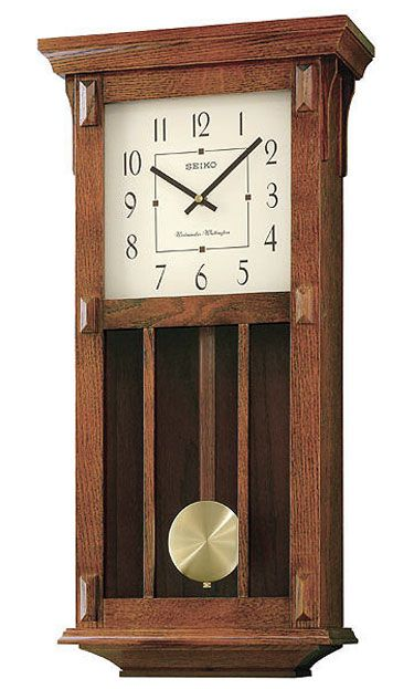 Seiko Qxh045blh Mission Style Wall Clock Chiming Wall Clocks Brown Wall Clocks Pendulum Wall Clock