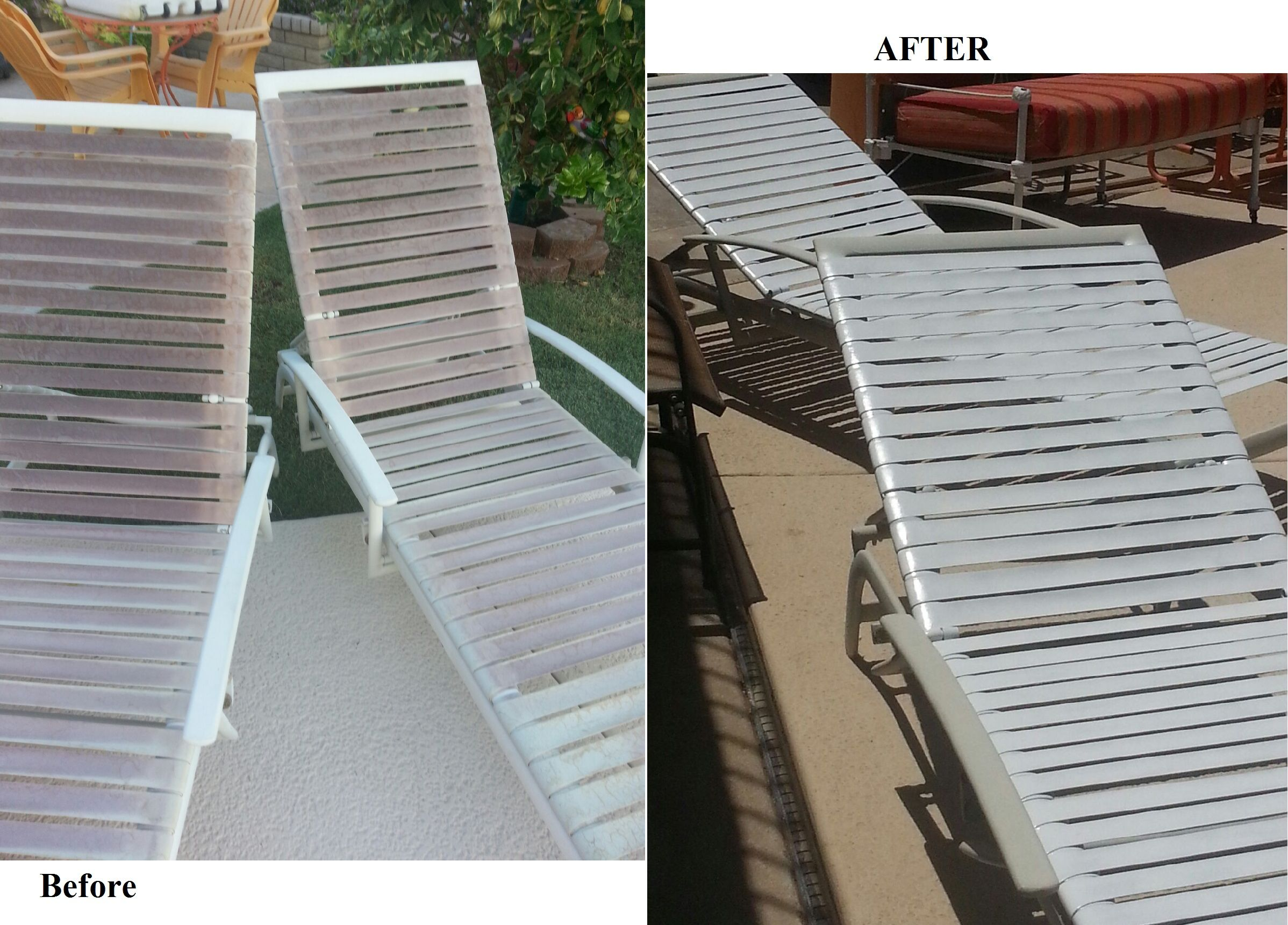 Up Cycle Pool Loungers You Can See In The Pictures The Vinyl Straps Have Been Sun Worn These Are Another Thrift S Patio Patio Chairs Outdoor Patio Chairs