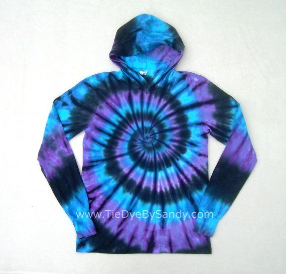 Tie Dye Hoodie Moon Shadow Spiral Long Sleeve Hooded Tshirt