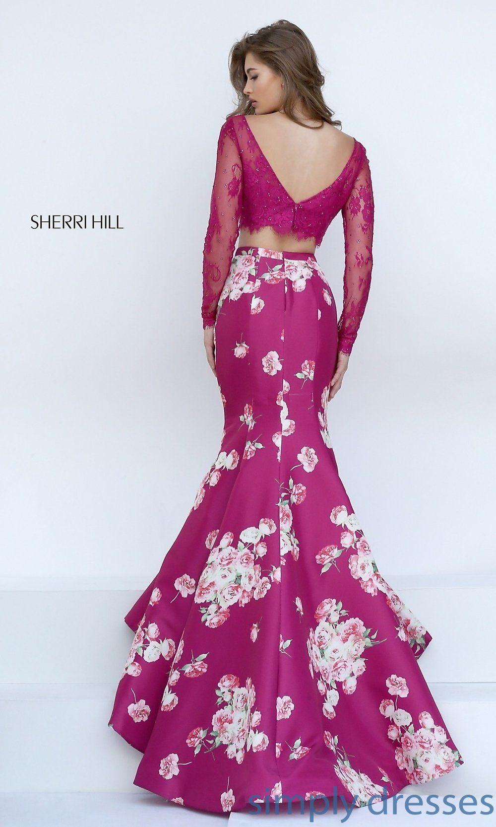 e42fb07ecc2 Shop Sherri Hill floral print two piece long prom dresses at SimplyDresses.  Beaded long sleeve crop top two piece dresses with long floral skirts.