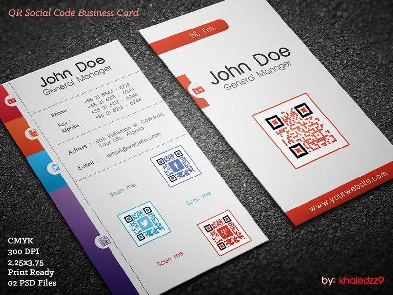Qr Social Code Business Card By Khaledzz9 On Deviantart Business Card Design Creative Business Card Design Professional Business Cards