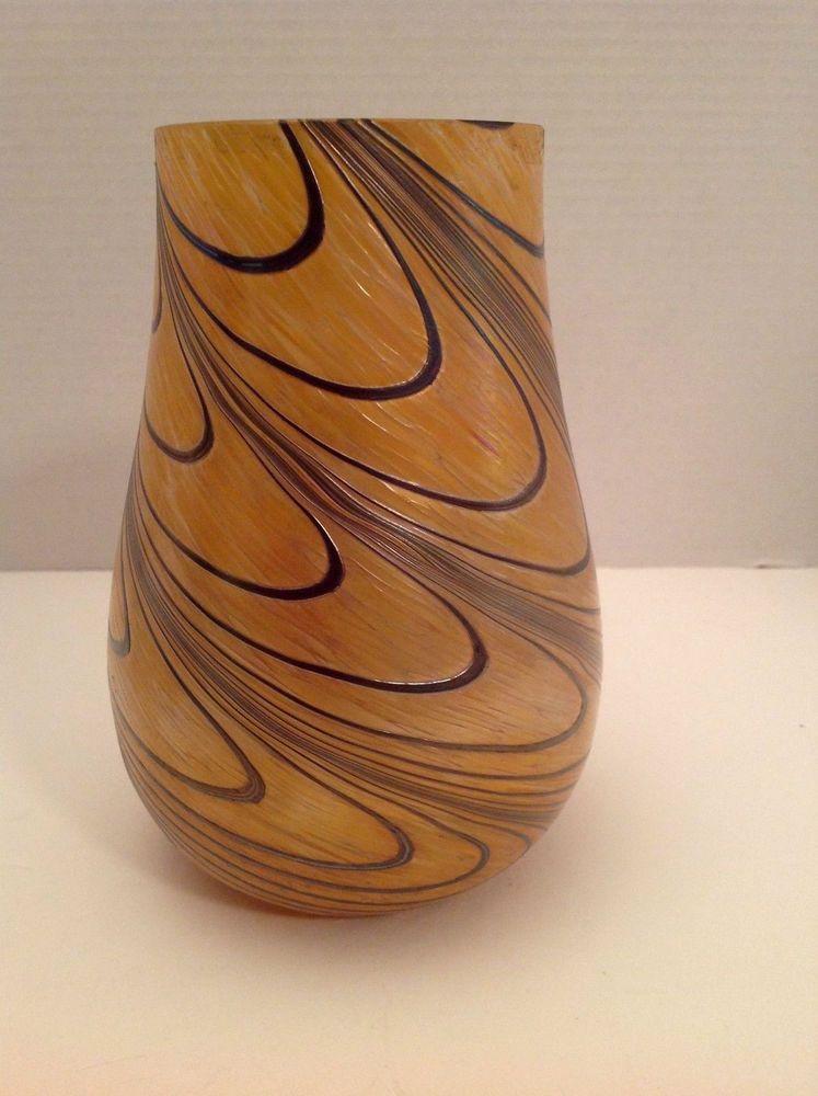 Art Glass Hand Blown Iridescent Swirl Teleflora Vase Feather Pulled
