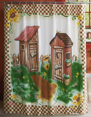 Decorative Solar Powered Pumpkin  Outhouse Shower Curtain