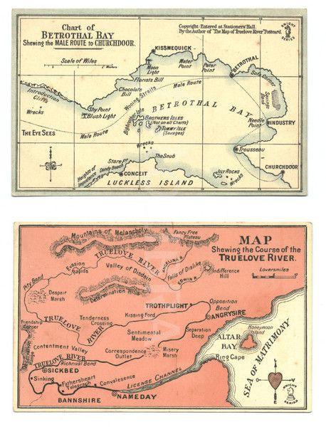 Edwardian Maps of Matrimony postcards c 1905 LRL