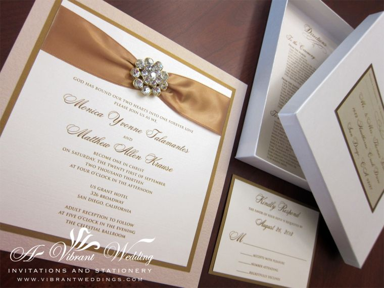 7x7 Triple Layered Champagne Antique Gold Box Wedding Invitation With Rhinestone Jewel