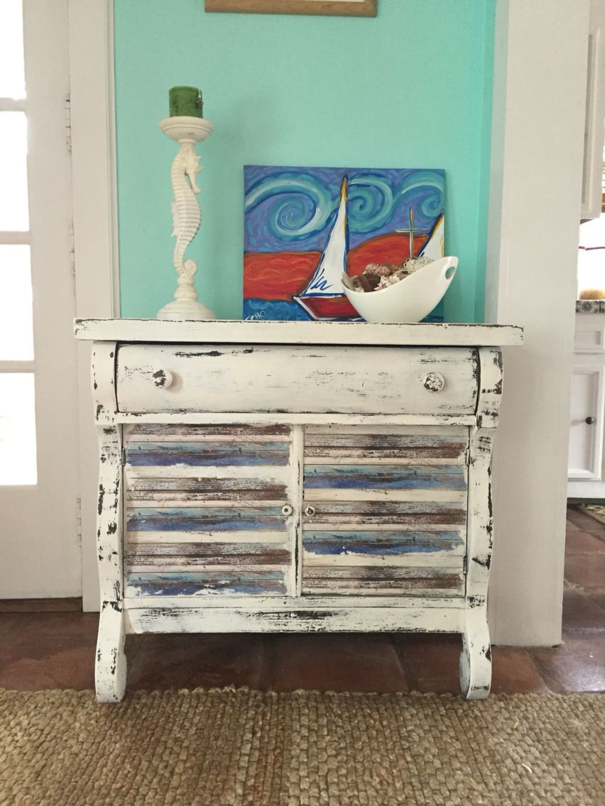 Beautiful Beach Look Furniture Part - 6: #furniture #makeover Gave This Old #primitive #cabinet A #fresh #coastal