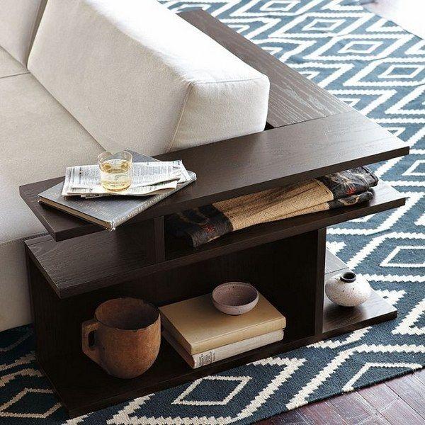 Sofa Corner Table Modern Design Living Room Furniture Dark Wood