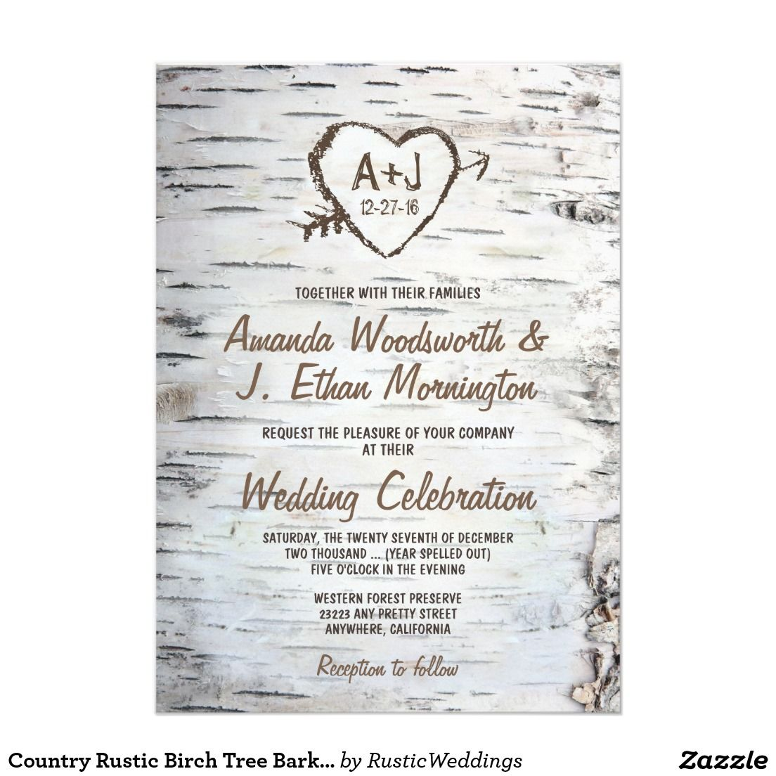 Country Rustic Birch Tree Bark Wedding Invitations Tree Bark