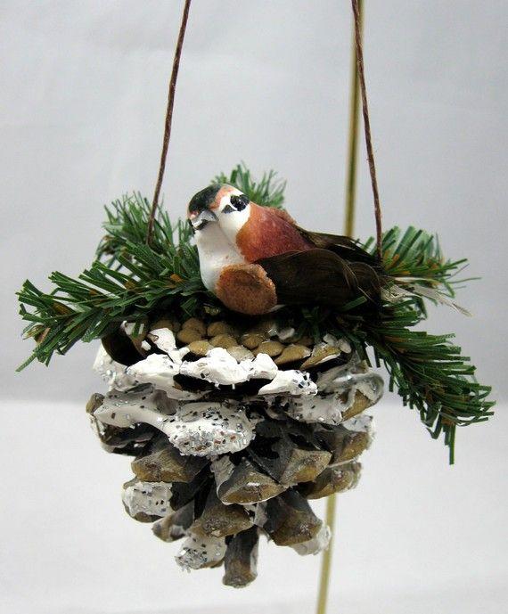 pine cone with bird christmas ornament 103 basteln. Black Bedroom Furniture Sets. Home Design Ideas