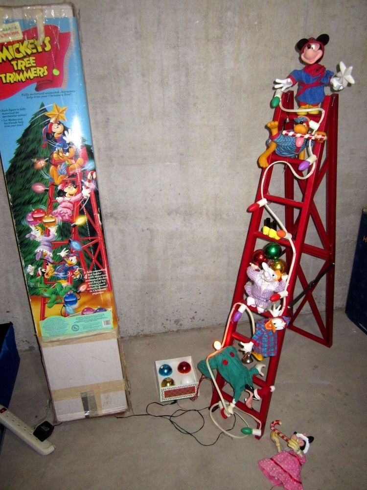 christmas mickeys tree trimmers 6 animated disney characters on ladder in collectibles disneyana contemporary 1968 now ebay