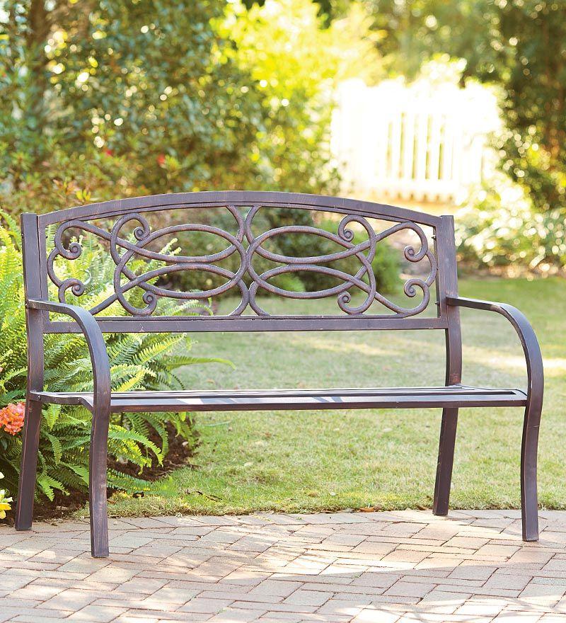 scrollwork bench gardening pinterest porch tubular steel and
