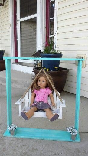 American Girl Doll swing. This was soooooo easy and cheap to make!! All supplies cost $20. #happydaughters #americangirldoll #dollswing #CraftSuppliesGirlDolls #americangirldollcrafts