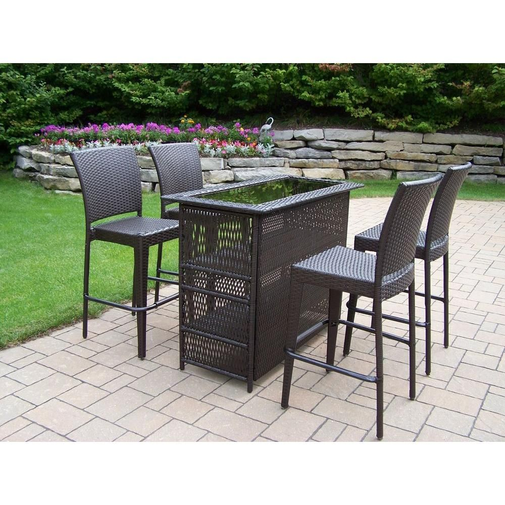 oakland living elite resin wicker 5 piece patio bar set patio