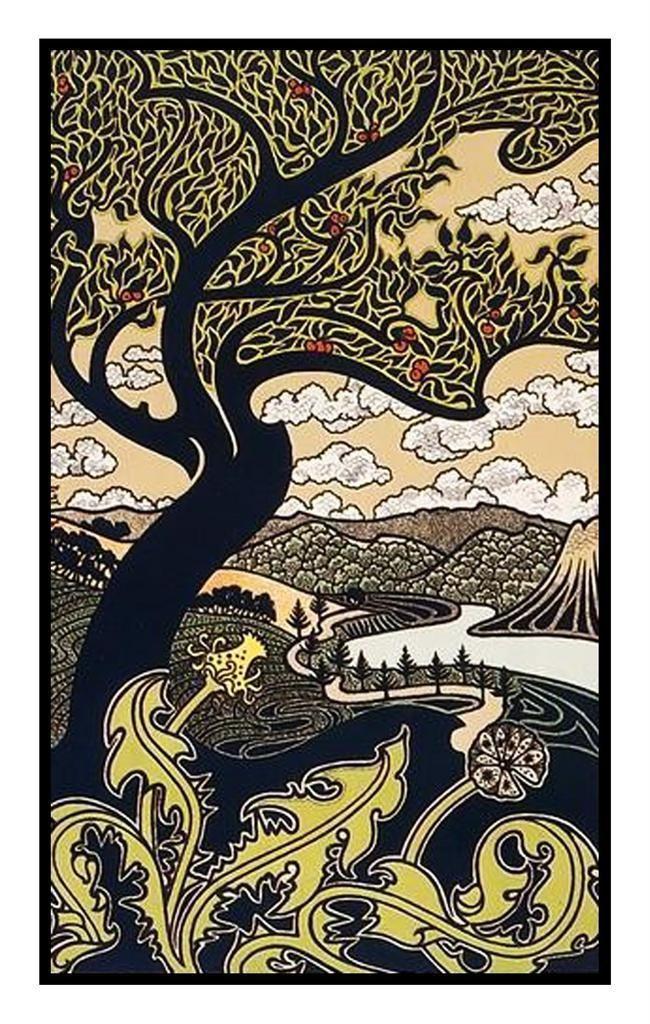Gisbert Combaz Art Nouveau Earth Tree and Sun Counted Cross Stitch Chart Pattern