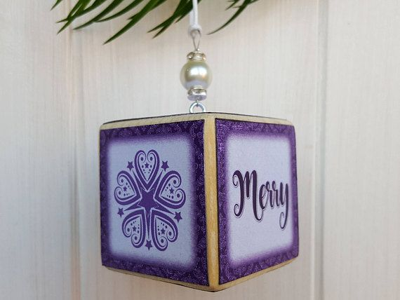 merry christmas personalised small purple hanging wooden
