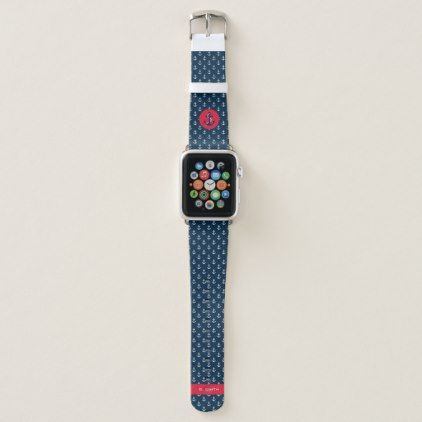 Monogram Nautical Theme Anchor Apple Watch Band