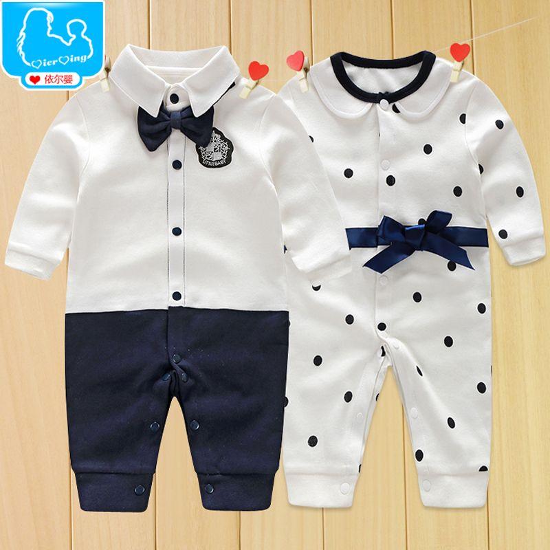 40d5676cf3 Newborn Baby Boy Rompers 100% Cotton Tie Gentleman Suit Bow Leisure Body  Suit Clothing Toddler Jumpsuit Baby Boys Brand Clothes em Macacão Body de  Mamãe e ...