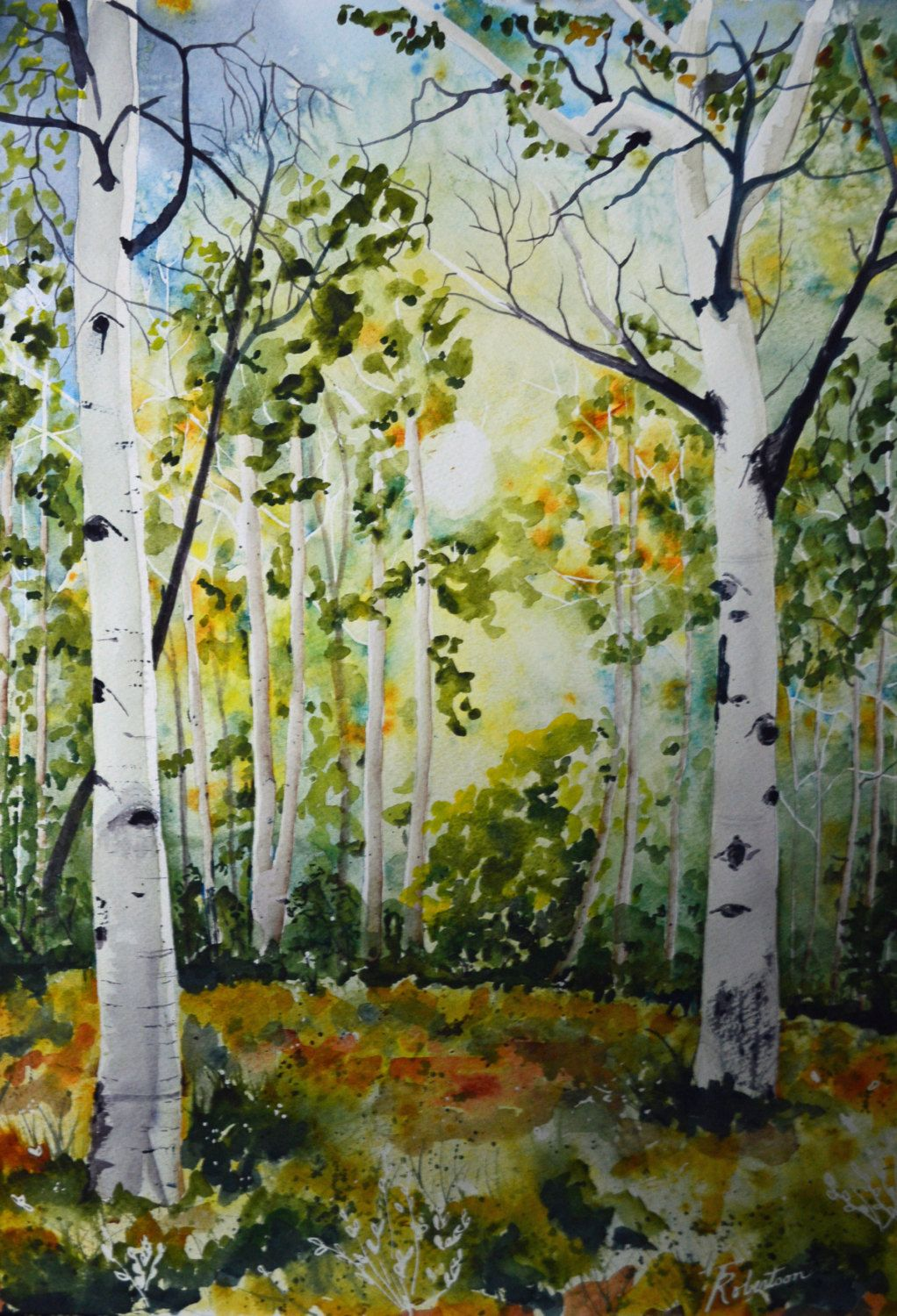 Original Landscape Watercolor Colorado Aspens Watercolor