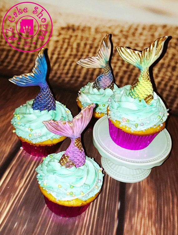 Edible Fondant Mermaid Tail Cupcake Toppers 12 Piece ...