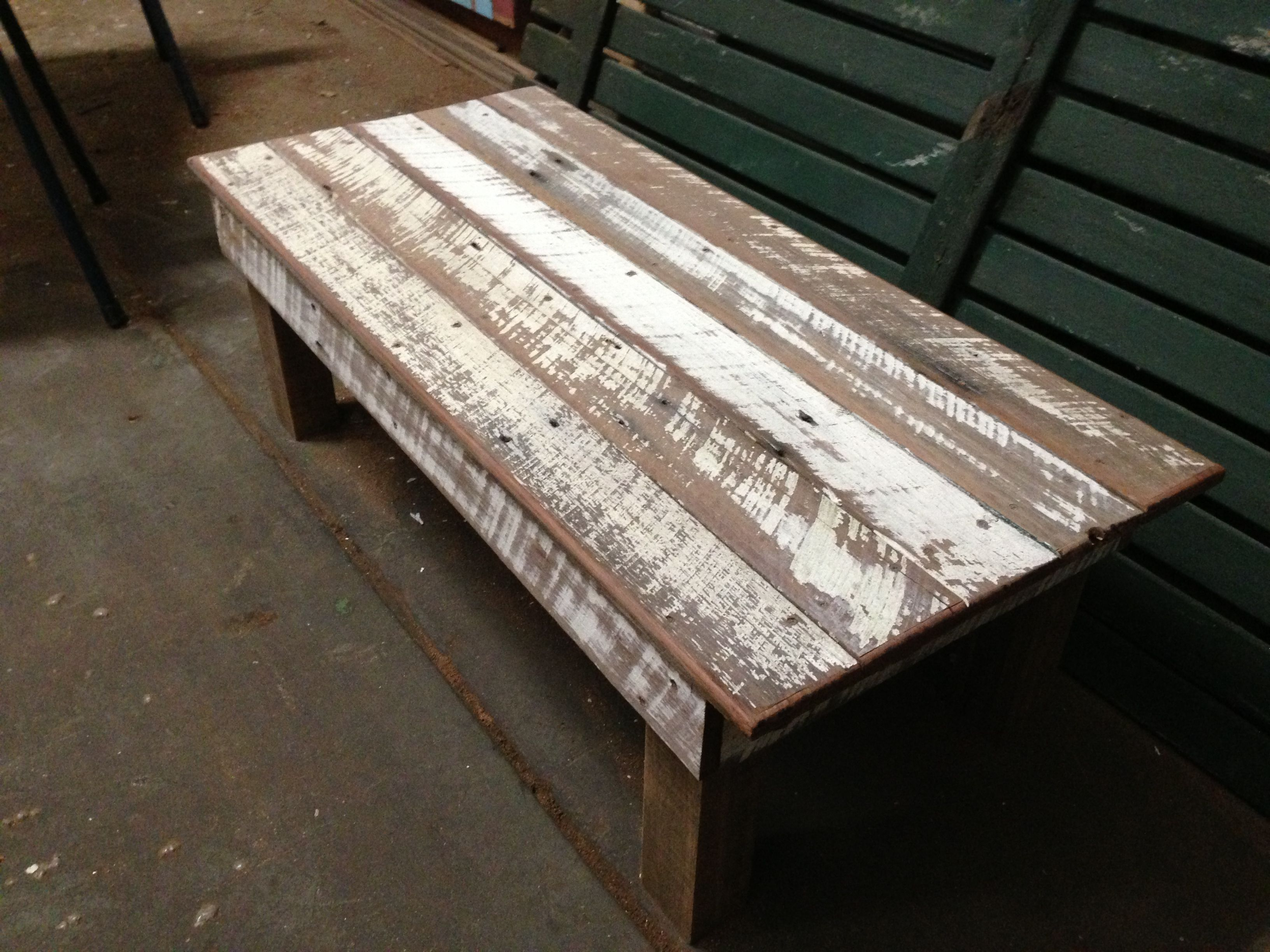 Whitewashed timber coffee table Built from a reclaimed timber fence
