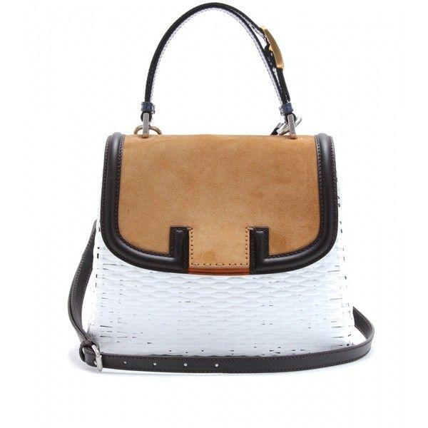 Fendi Silvana Bag With Snakeskin Handle ($2,000) ❤ liked on Polyvore featuring bags, handbags, bolsas, fendi, white, snake print handbag, fendi handbags, python print handbag, snake skin purse and snakeskin purse