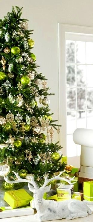Christmas Tree Decoration Ideas Tonikami Dℯck ʈհe Haŀŀs Christmas Lime Green Silver Gold Green Christmas Tree Christmas Color Palette Green Christmas
