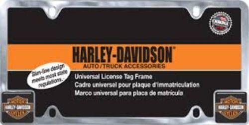 harley davidson orange and black block logo license plate frame made of silver chrome with black