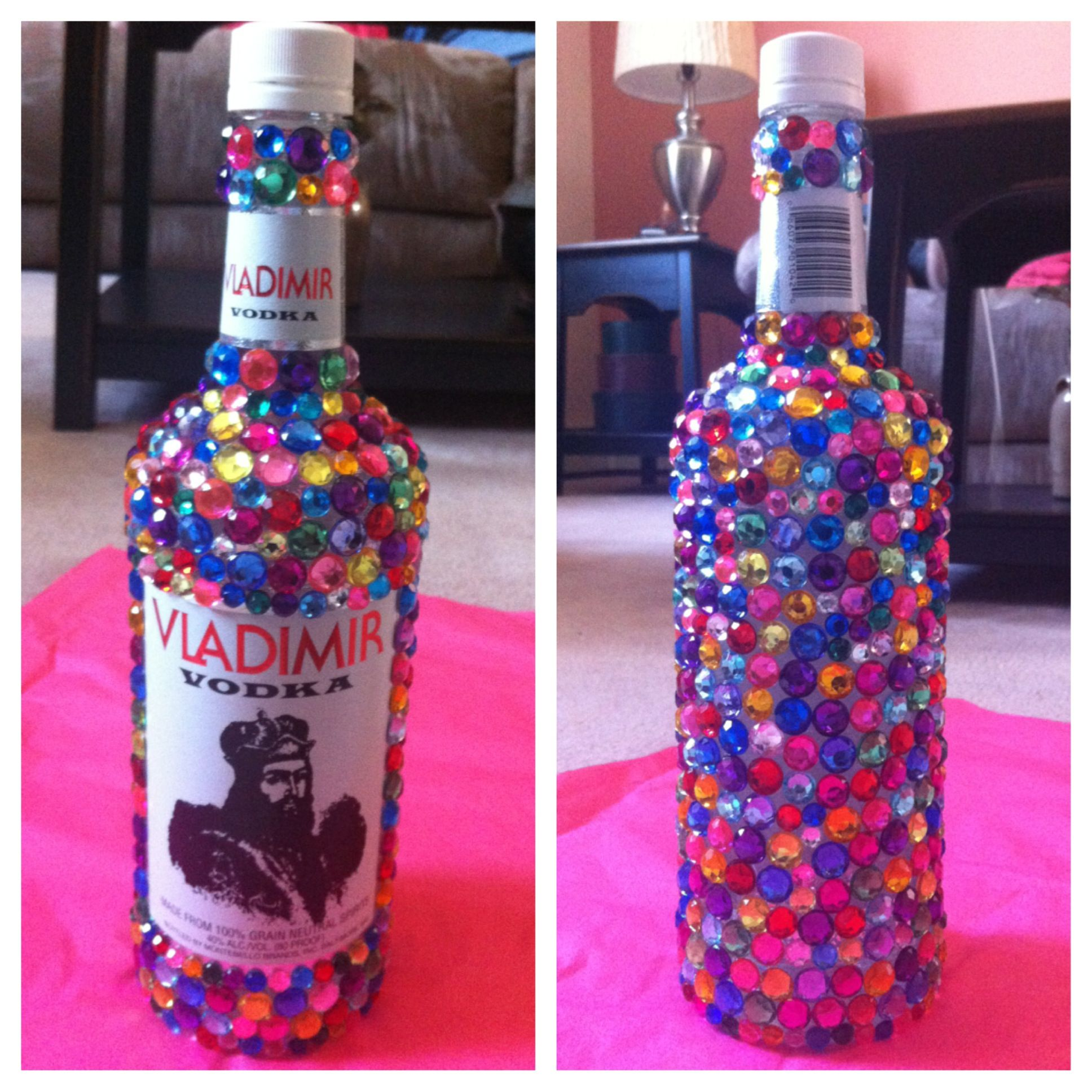 Bedazzled Alcohol Bottle For A 21st Birthday! Easy To Make
