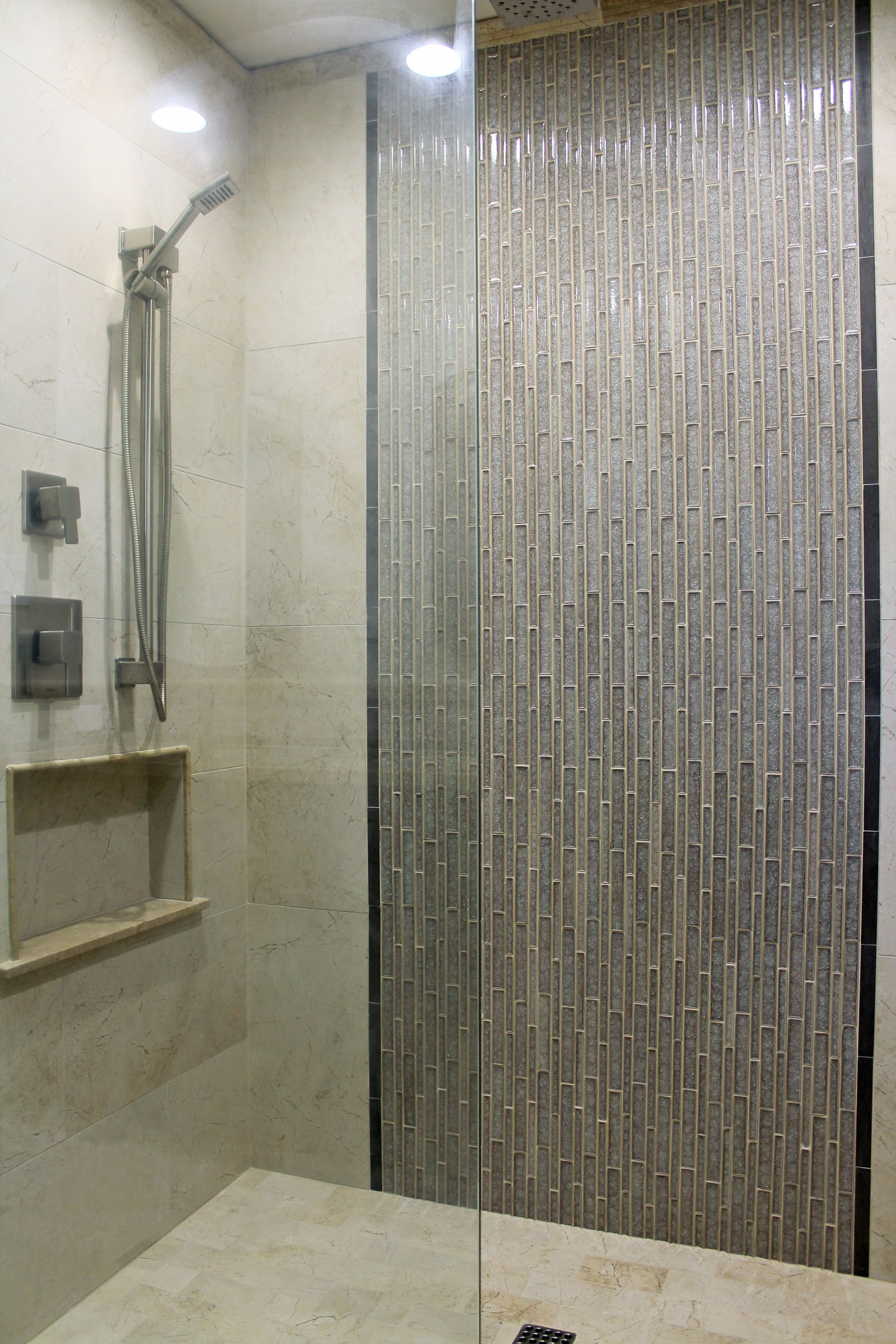 Beige wall tile with gray glass mosaic ideas