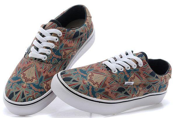 Authentic Liberty Art Fabrics Vans Era Indian Carpet Print Skate Sneakers  Brown  S14072401  - bbad25acb6e95
