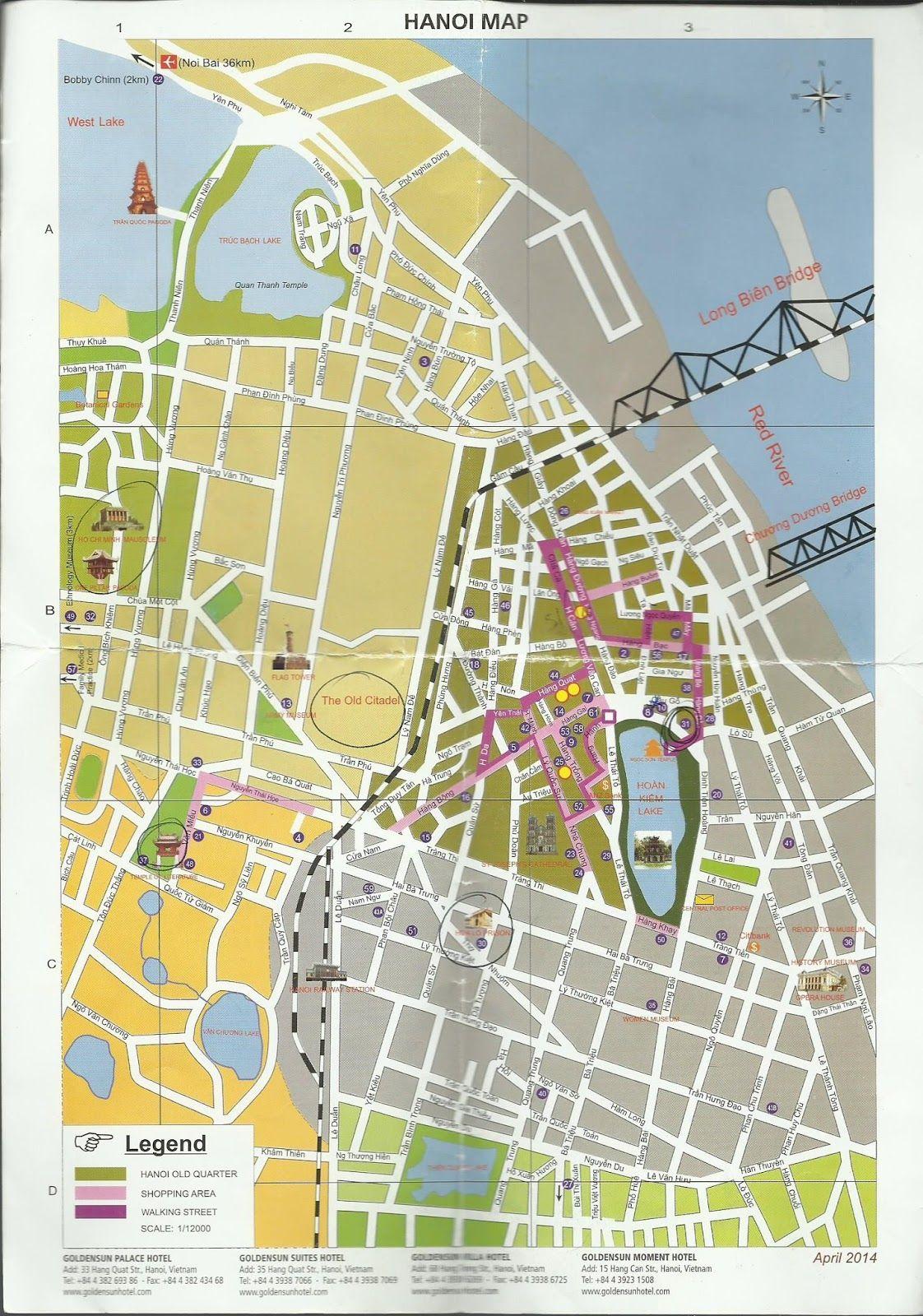 Hanoi Tourist Map | Vietnam | Hanoi, Hanoi vietnam, Vietnam